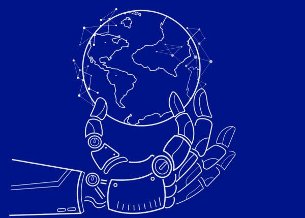 Robotic hand holding the world