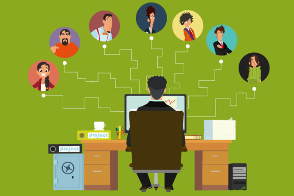 Vector image of manager working from home