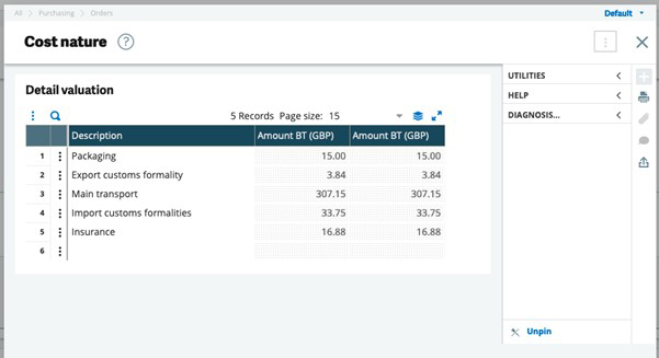 Sage X3 screenshot of Cost Nature